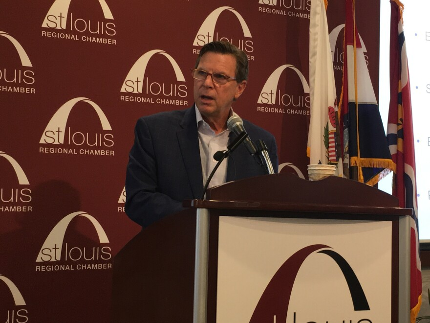 "St. Louis Regional Chamber CEO and President Tom Chulick presented findings from the ""Bridging the Talent Gap"" survey alongside local business and higher education leaders on March 14."