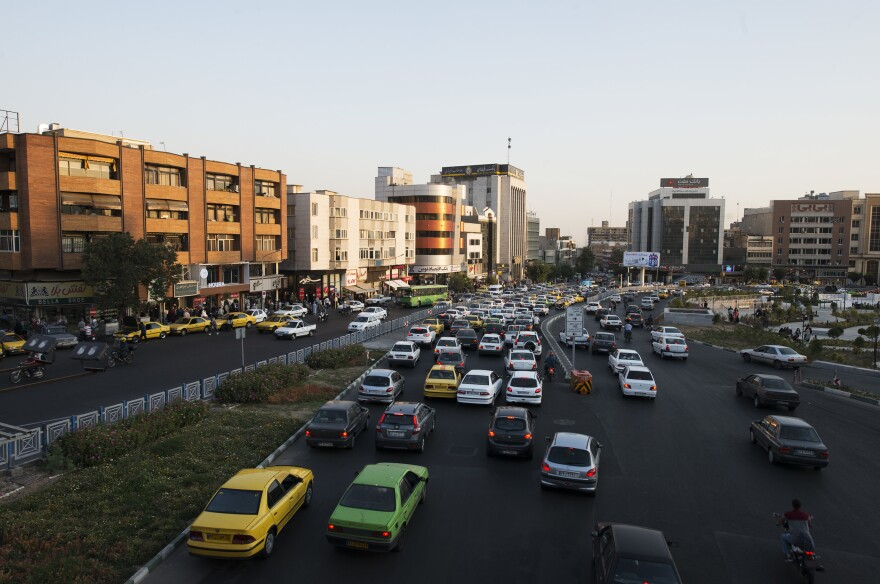 Traffic on Haft-e-Tir Street, one of the main thoroughfares in the center of Tehran.