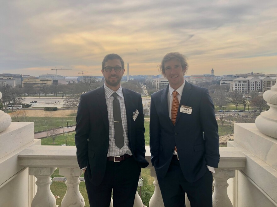 Dustin Kisling, left, and Josh Jesperson, right, at the Capitol building in Washington, D.C., 2020. The two former Navy SEALs advocated for outdoor recreation as an effective treatment for veterans.