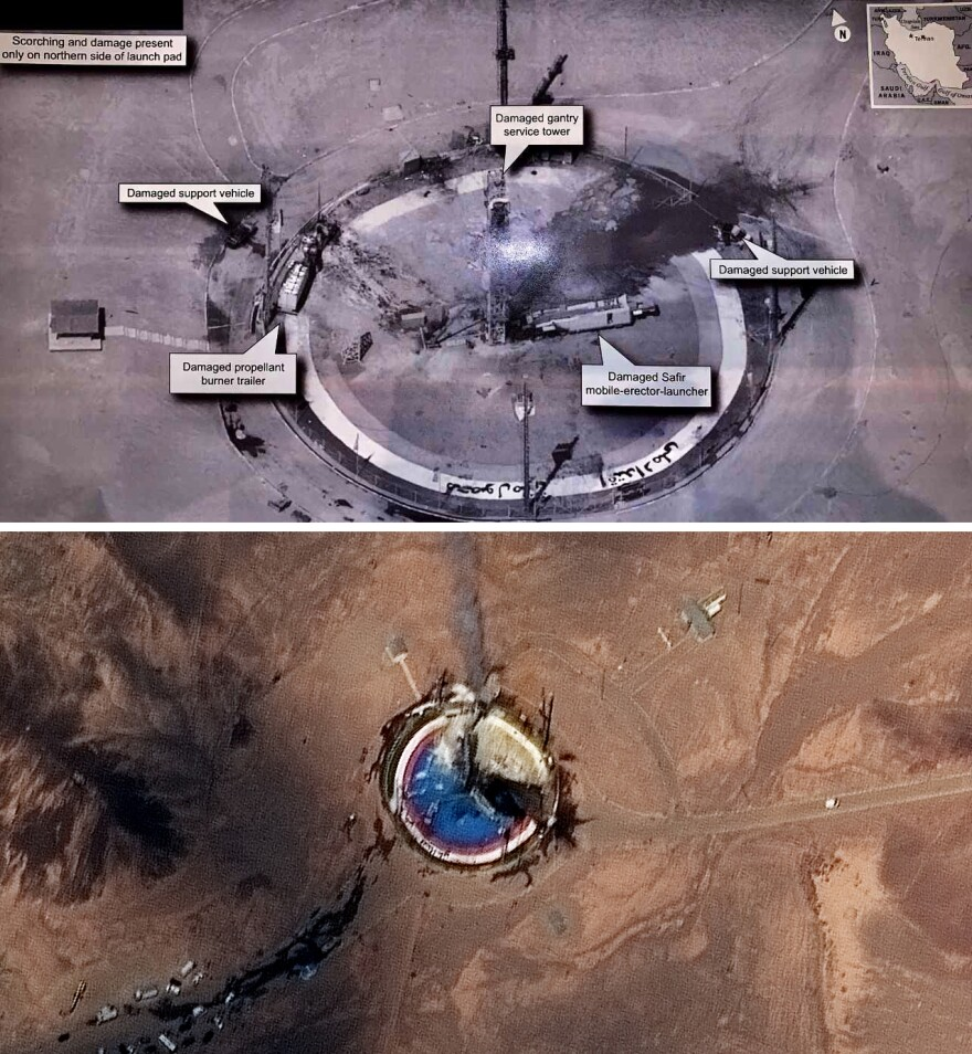 A commercial satellite image from the company Maxar (bottom); the image tweeted by President Trump (top) appears to be of better quality.