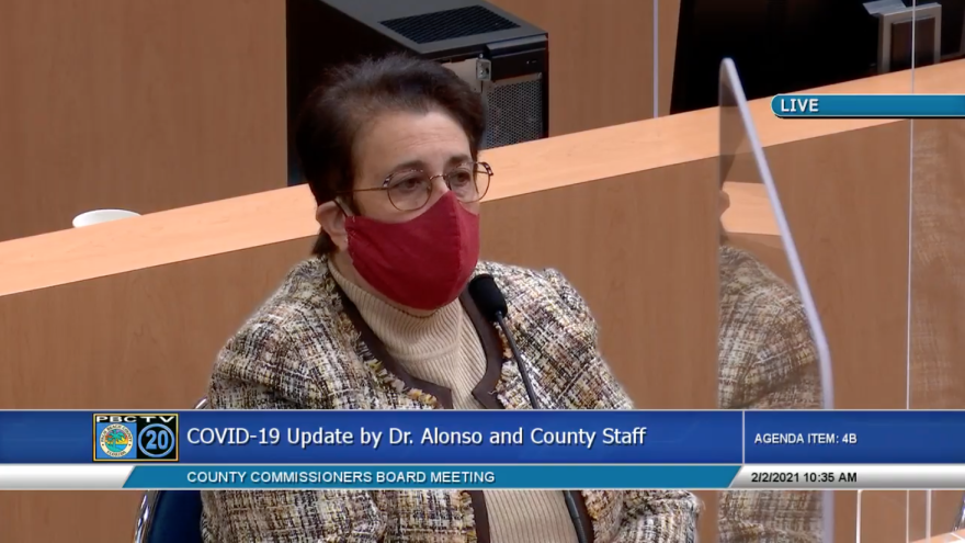 Florida Department of Health in Palm Beach County Director, Alina Alonso at Palm Beach County commission meeting, February 2, 2021
