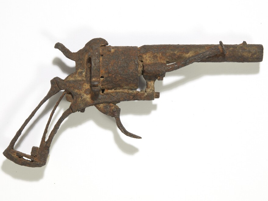 This undated recent photo provided by Drouot auction house shows the revolver believed to have been used by Dutch painter Vincent Van Gogh to take his own life. The revolver has been sold at auction.