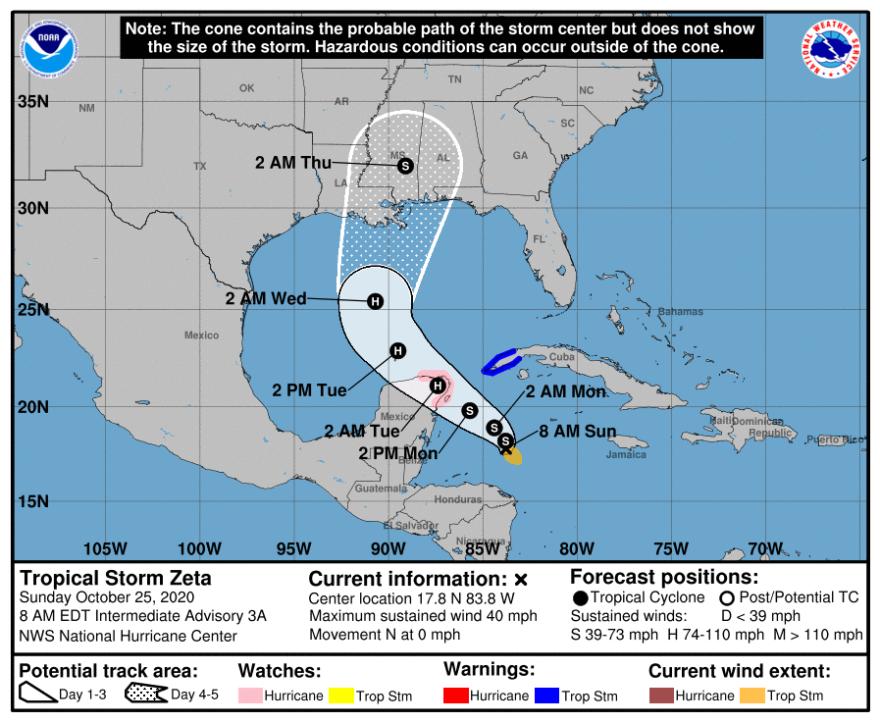National Hurricane Center tracking map for Tropical Storm Zeta