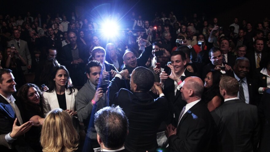 President Obama shakes hands with supporters after speaking at a DNC fundraiser at Nob Hill Masonic Center in San Francisco, Calif., on April 20.