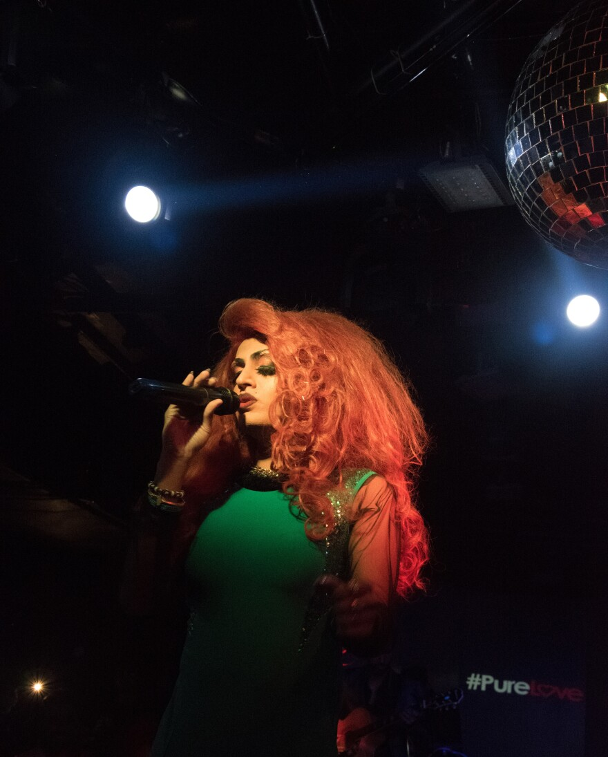 Drag queen Rani Ko-He-Nur, 28, performs at a nightclub at the Lalit hotel in New Delhi.