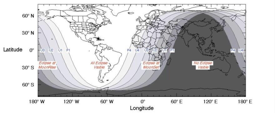 A map showing the regions that can view the total lunar eclipse.