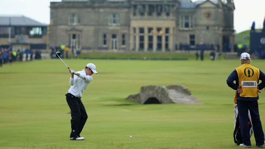 Zach Johnson won the 144th Open Championship at The Old Course in St. Andrews, Scotland, on Monday. He's seen here teeing off on the 18th hole in the playoff round.