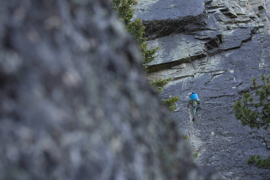 A climber in Lost Horse Canyon in the Bitterroot National Forest.