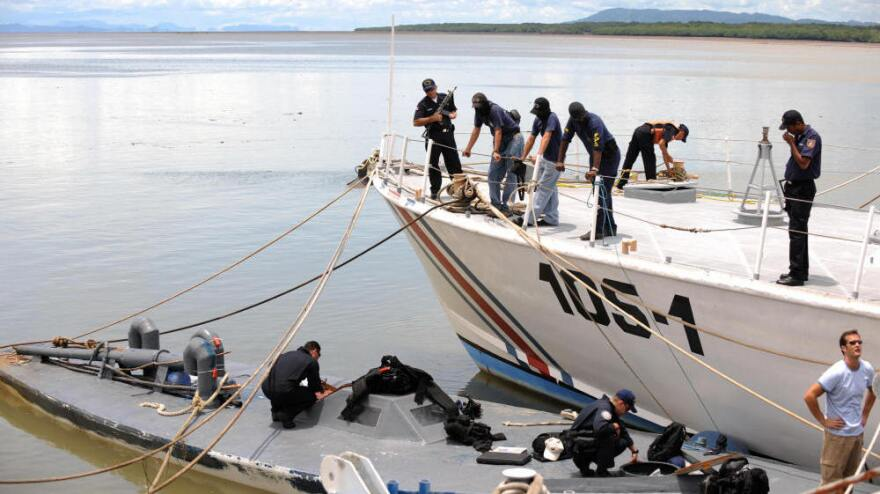 Costa Rican and U.S. Guard Coast members seized this  semi-submersible which was carrying seven tons of cocaine. It is shown here at Costa Rica's Puntarenas Coast Guard headquarters on Sept. 17, 2008. Four Colombians were arrested.