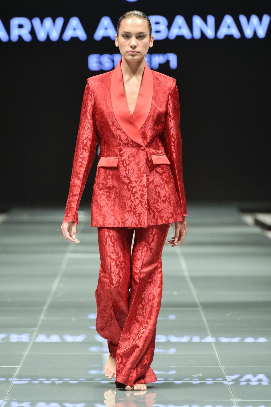 Arwa al-Banawi's designs, including women's business suits, send a strong message about female empowerment.