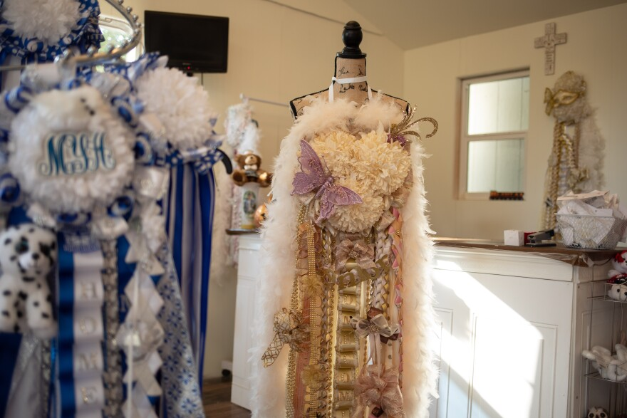 Mum's and Kisses, a store in Crowley, TX., makes traditional mums for high school homecoming events.