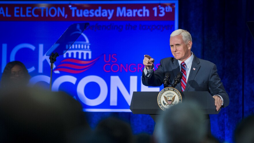 Vice President Pence speaks during a campaign event for Pennsylvania congressional candidate Rick Saccone in February. Pence is playing a big role in Republicans' midterm election campaign.