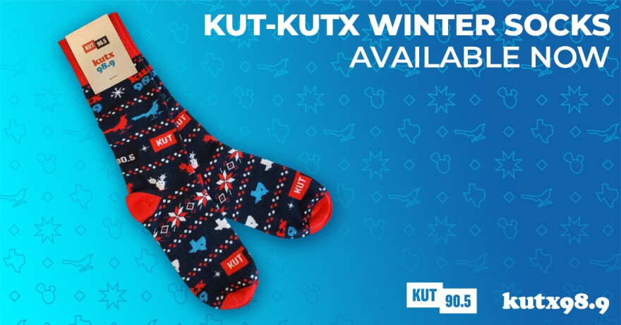 KUT-KUTX Winter Socks featuring cacti, grackles, snowflakes and Texas.