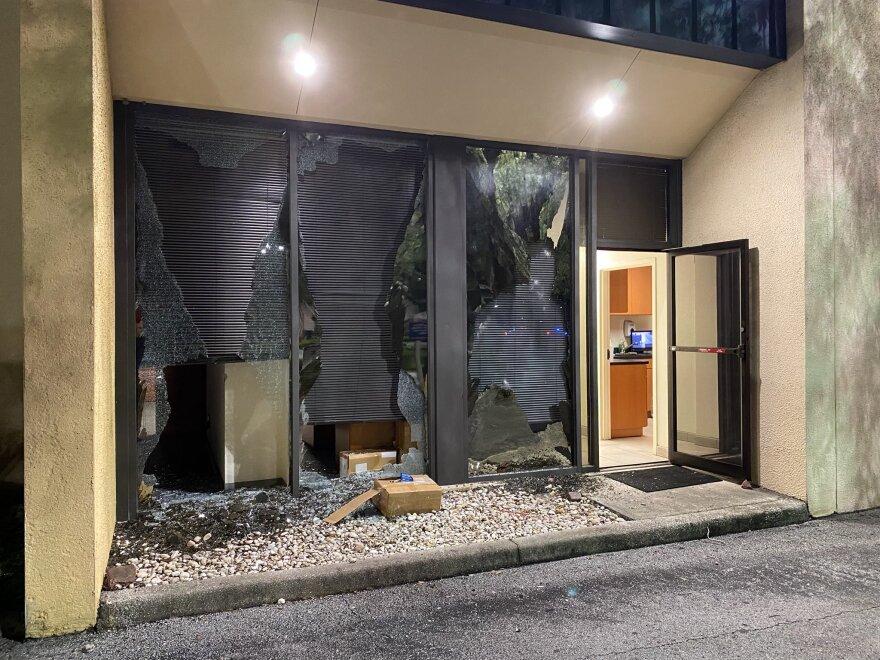 Storefront damaged during protest