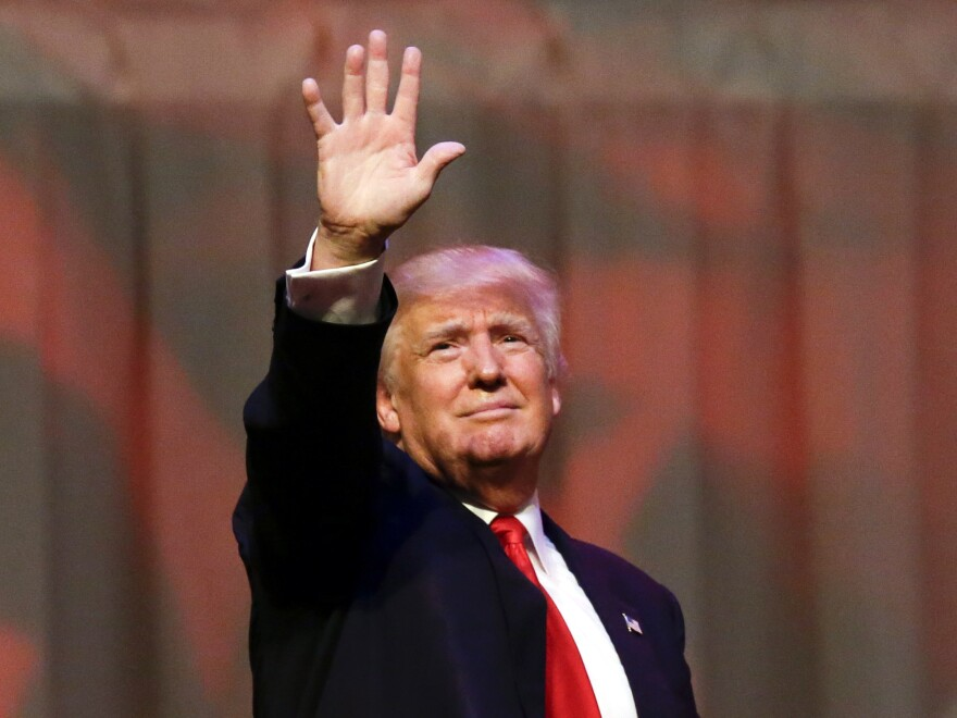 Republican front-runner Donald Trump waves at a rally in Carmel, Ind., Monday.