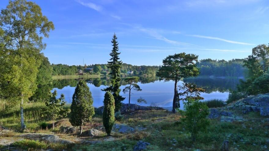 The view from Fredrik Sjöberg's living room on the Swedish island of Runmarö.