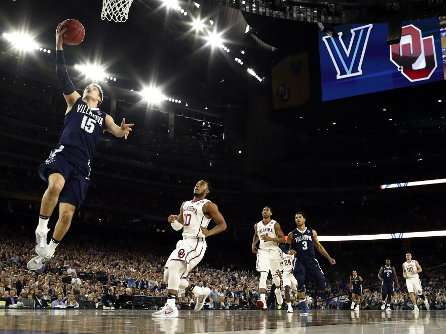Ryan Arcidiacono goes up for a layup during the first half of the NCAA Final Four tournament college basketball semifinal game against Oklahoma on Saturday in Houston.