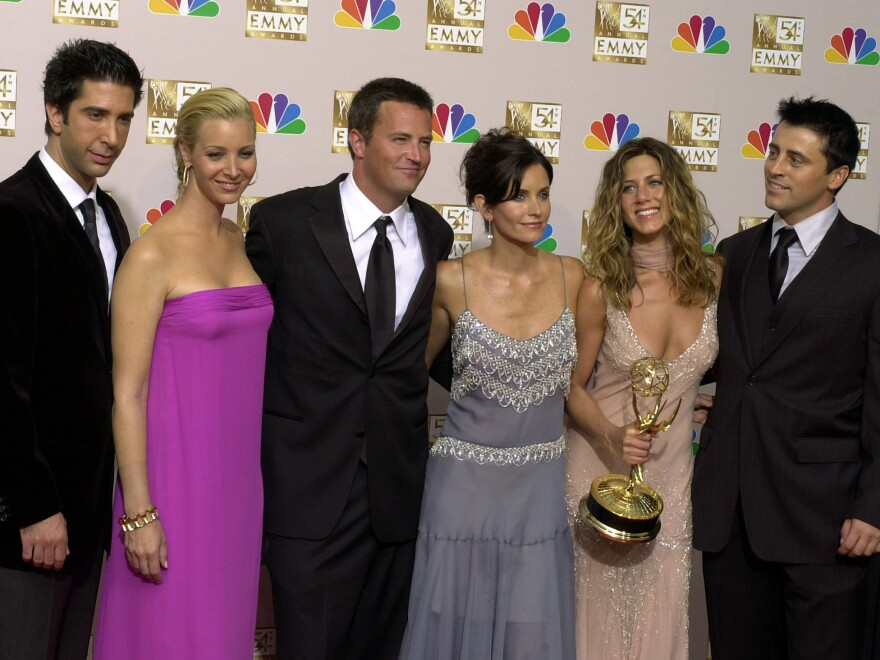 Cast members (from left) David Schwimmer, Lisa Kudrow, Matthew Perry, Courteney Cox, Jennifer Aniston and Matt LeBlanc pose after the show won outstanding comedy series at the 54th Annual Primetime Emmy Awards in 2002.