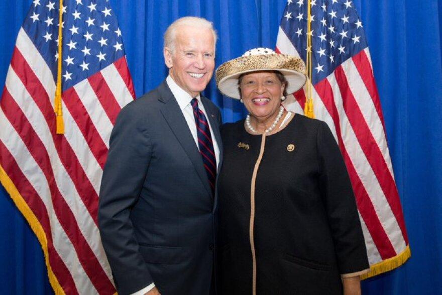Alma Adams and Joe Biden