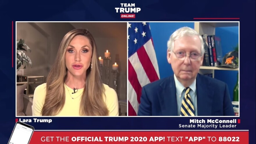 Lara Trump, the president's daughter-in-law and a campaign adviser, speaks to Senate Majority Leader Mitch McConnell, R-Ky., during a campaign webcast on May 11.