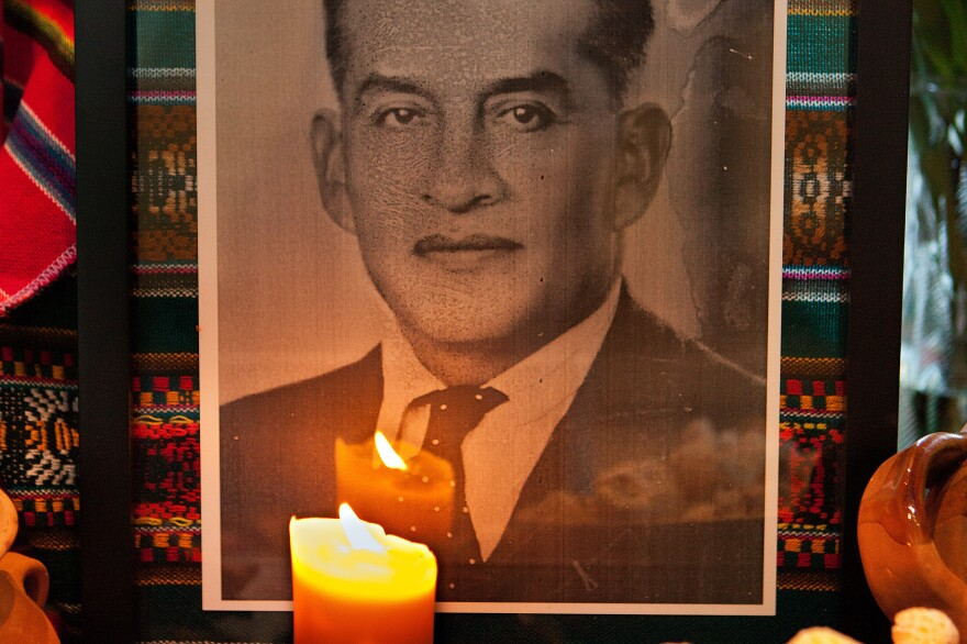 Photographs: Images of loved ones who have died are placed on the altar. This photograph shows Teodomiro Nrquiola; his great-grand son, Luis Alipaz, placed it on an altar at the Smithsonian's National Museum of the American Indian.