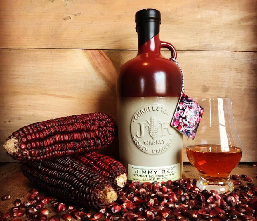 High Wire Distilling has been crafting bourbon from Jimmy Red since 2014. This year's release of over 1,900 bottles comes from 14 acres grown in 2015, and is sold in a special Le Creuset bottle created for High Wire Distilling.