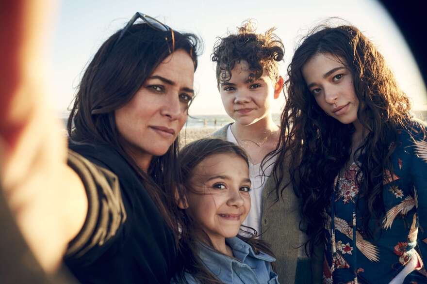 Pamela Adlon plays plays Sam, a single mom raising three daughters (from left, Olivia Edward, Hannah Alligood and Mikey Madison) in the FX comedy series <em>Better Things.</em>