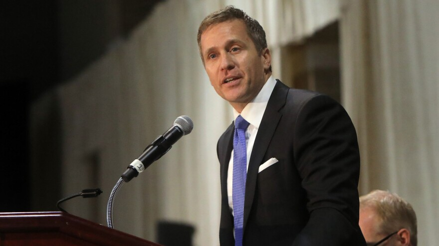 Gov. Eric Greitens delivers the keynote address at a police memorial prayer breakfast on April 25, at the St. Charles Convention Center. Greitens has announced he will resign on Friday.
