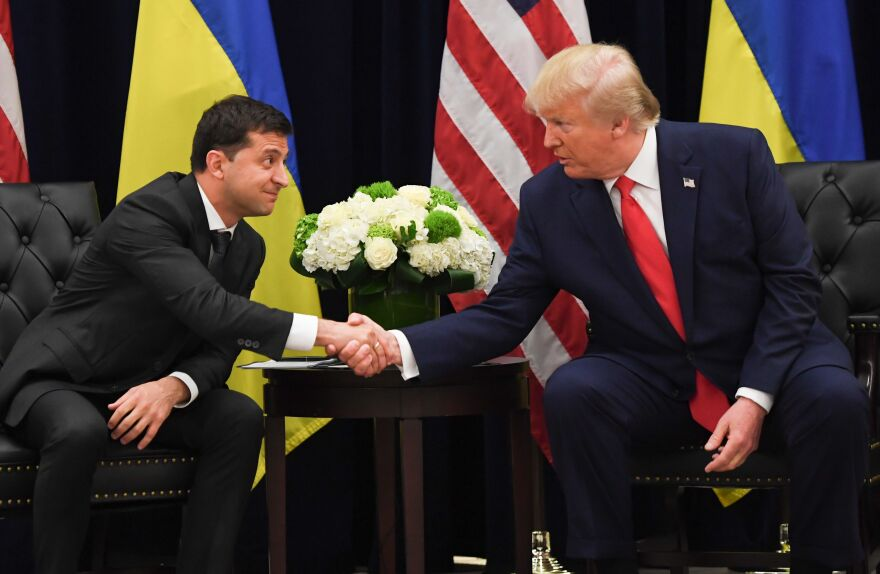 Zelenskiy shakes hands with President Trump during a meeting on the sidelines of the United Nations General Assembly on Sept. 25.