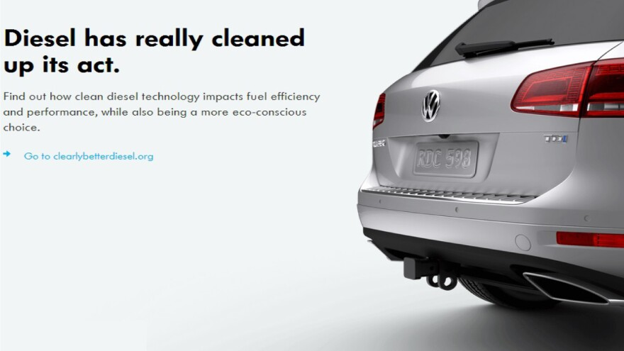 """An image taken from a document filed in court Tuesday includes an example of the advertising Volkswagen executives used to sell the idea of """"clean"""" diesel technology to U.S. consumers."""