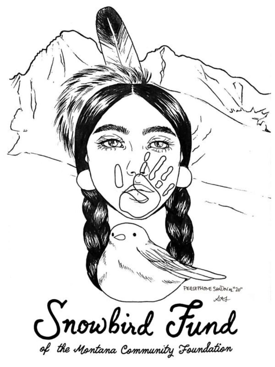 The logo for the Snowbird Fund from the Montana Community Foundation, art by Persephone Sandoval