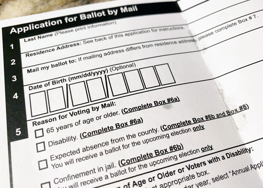 An application to vote-by-mail in Texas.