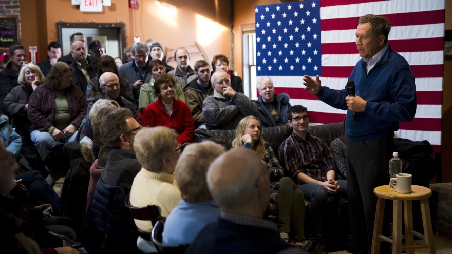 Republican presidential candidate and Ohio Gov. John Kasich at a campaign stop Tuesday in New Boston, N.H.