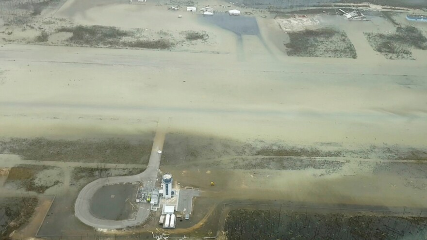 An aerial view of Marsh Harbor's airport after the storm hit the Abaco Islands on Tuesday.