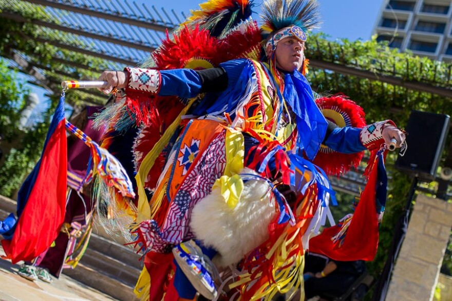 A Native American dancer at a performance.