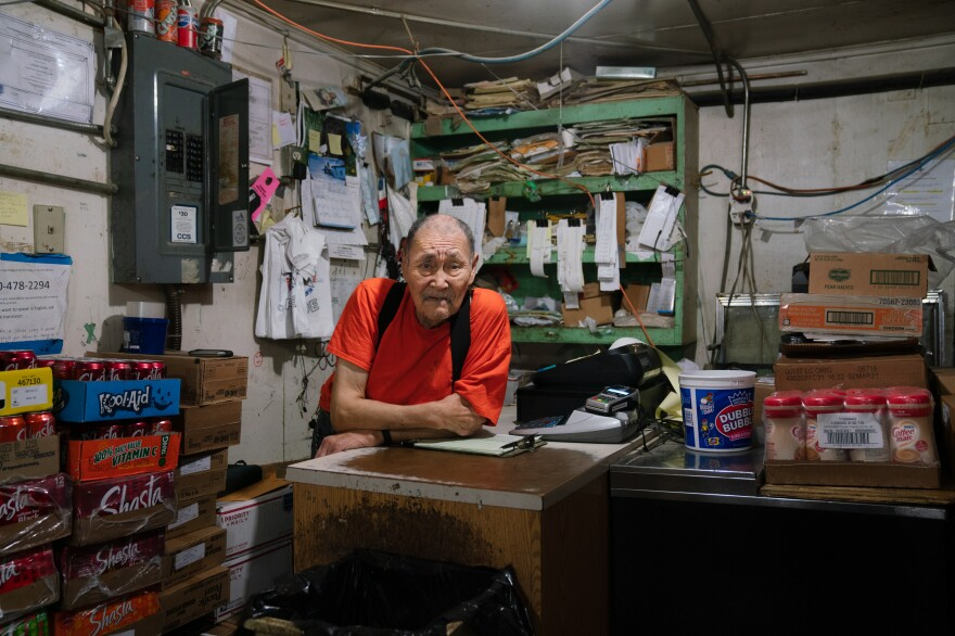 Larry John owns John's Store, the oldest of Toksook Bay's three convenience stores.