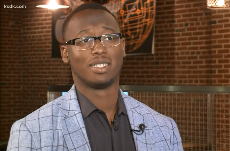 D'Arreion Toles spoke to KSDK-TV about the incident at happened in a downtown St. Louis apartment building on Oct. 12, 2018.