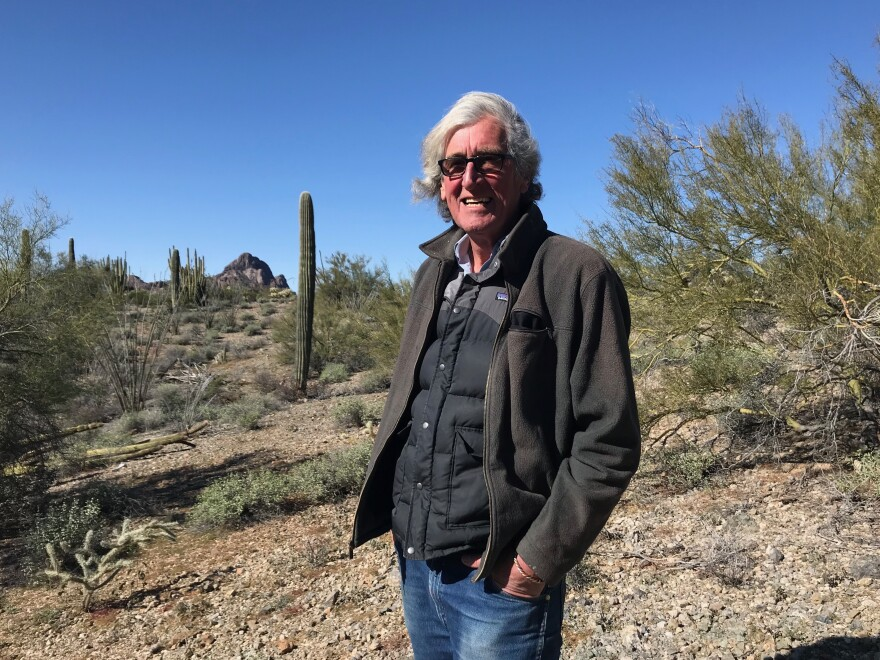 John Orlwoski, a migrant aid volunteer, in the desert outside Ajo, Ariz.