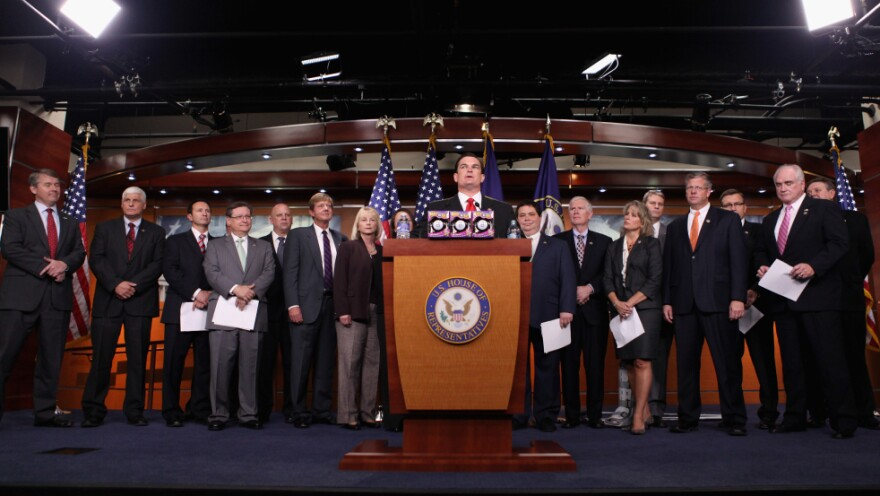 <p>House Republican freshmen, some of whom are shown here in April, are learning that fundraising is a big part of the job.</p>