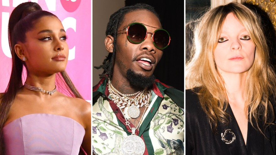 Ariana Grande (left), Offset (middle) and Jessica Pratt all put out albums that made NPR Music's Top 10 list for February.