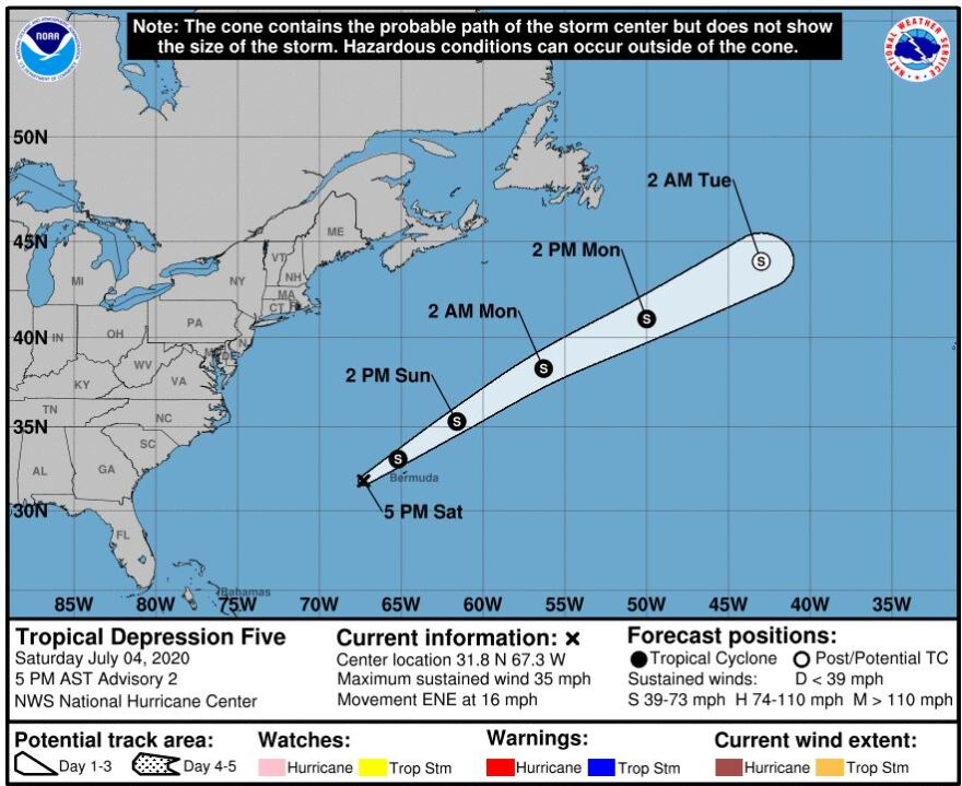 National Hurricane Center map of the Atlantic Ocean predicting the track of Tropical Depression Five.