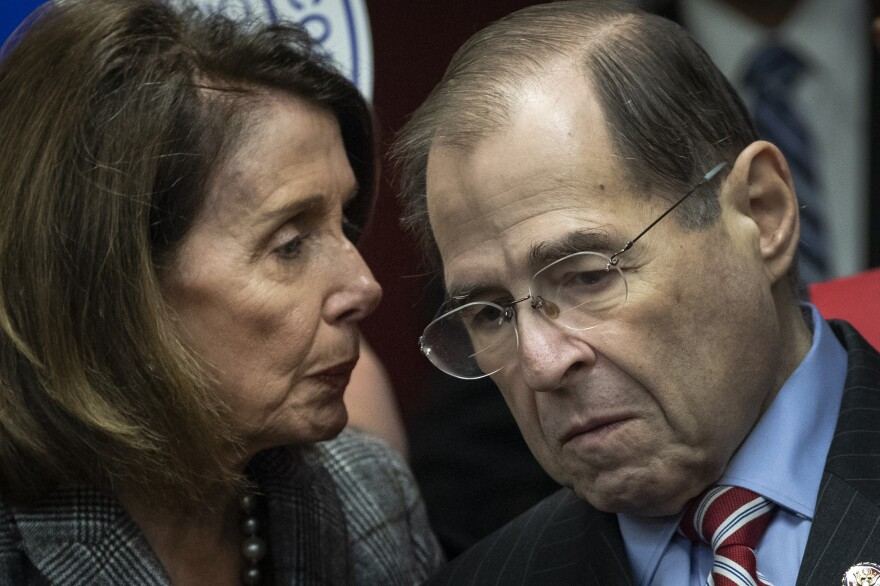 House Speaker Nancy Pelosi, D-Calif., speaks with House Judiciary Committee Chairman Rep. Jerrold Nadler of New York last week.