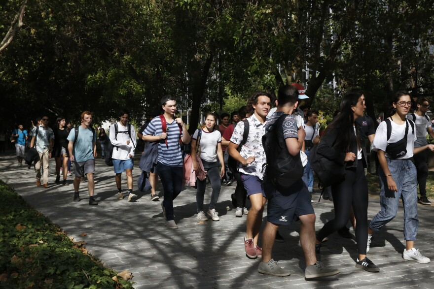 Students at Pontifical Catholic University of Chile, in Santiago. The university participates in <em>gratuidad,</em> so tuition is free for qualifying students.