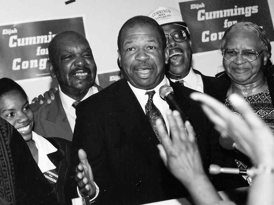 Politician and Maryland congressional representative Elijah Cummings at his campaign headquarters, 1988.