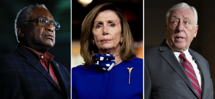Rep. James Clyburn, D-S.C., House Speaker Nancy Pelosi of California, and House Majority Leader Steny Hoyer, D-Md. in a composite photo.
