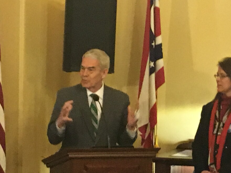 State Higher Education Chancellor Randy Gardner speaks to the crowd at the Ohio Statehouse.