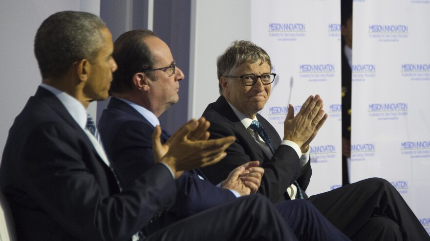 President Obama (from left), French President Francois Hollande and Microsoft co-founder Bill Gates applaud a speech during the Mission Innovation event at the UN conference on climate change Monday in Paris.