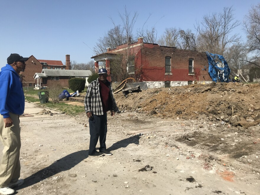 Alwayne Hughes and Lonza Patrick pointed out demolished properties in April 2018 along Wren Avenue in Walnut Park East. The Green City Coalition has planned for several vacant lots on this part of Wren Avenue to be converted into green spaces.