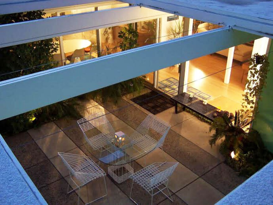 """Adriene Biondo has been living in an Eichler home for 20 years — the atrium of her home is pictured above. """"It's not like living in a normal house at all,"""" she says. """"There's nothing conventional about it."""""""