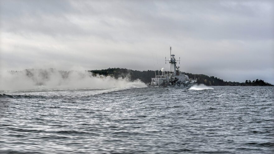 """Swedish corvette HMS Stockholm patrols Jungfrufjarden in the Stockholm archipelago, Sweden, on Monday. Swedish authorities say they've detected """"foreign underwater activity"""" thought to be a possible Russian submarine."""